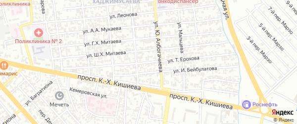 Улица Ерохова на карте Грозного с номерами домов