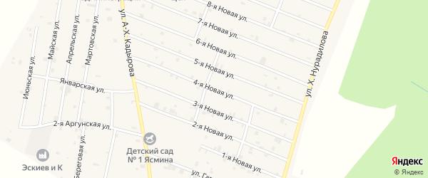 4-я Новая улица на карте села Дуба-Юрт с номерами домов
