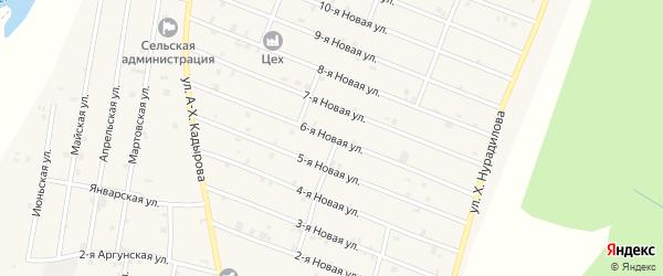 6-я Новая улица на карте села Дуба-Юрт с номерами домов