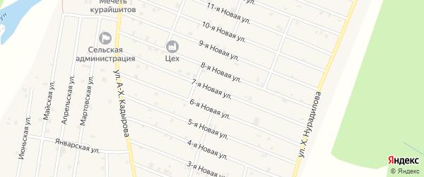 7-я Новая улица на карте села Дуба-Юрт с номерами домов