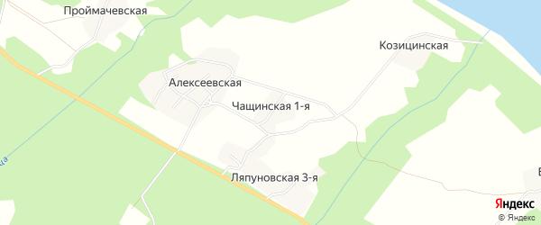 Карта Чащинской деревни в Архангельской области с улицами и номерами домов