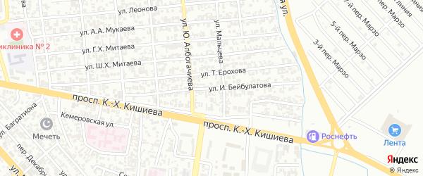 Улица им Ирбайхана Бейбулатова на карте Грозного с номерами домов