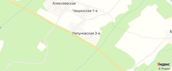 Карта Ляпуновская 3-я деревни в Архангельской области с улицами и номерами домов