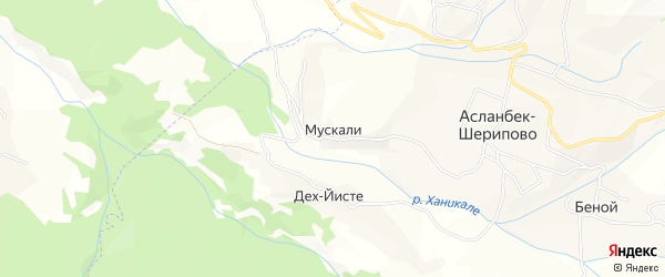 Карта села Мускали в Чечне с улицами и номерами домов