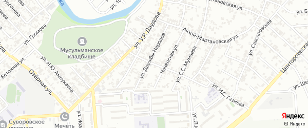 Юбилейная улица на карте Грозного с номерами домов