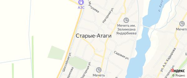 Карта села Старые-Атаги в Чечне с улицами и номерами домов