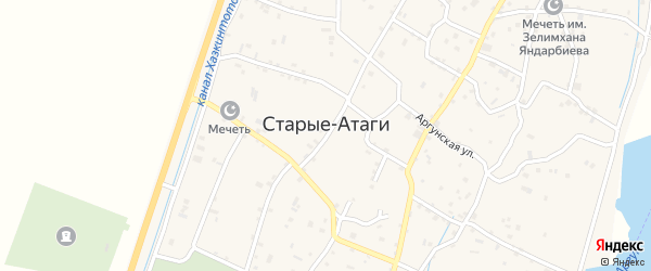 Улица М.Пахаева на карте села Старые-Атаги с номерами домов