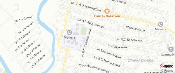 Улица им И.Х.Хаджиханова на карте Грозного с номерами домов