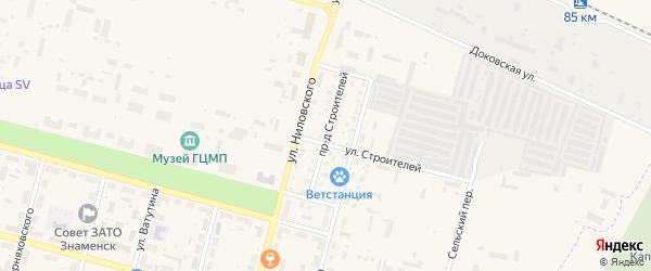 Проезд Строителей на карте Знаменска с номерами домов