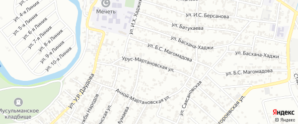 Урус-Мартановская улица на карте Грозного с номерами домов