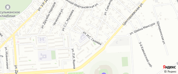 Улица им И.С.Газиева на карте Грозного с номерами домов