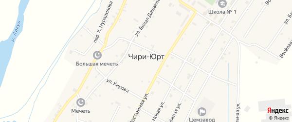 Переулок Кирова на карте поселка Чири-Юрт с номерами домов