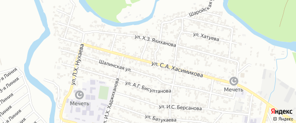 Переулок 2-й Ленина на карте Грозного с номерами домов