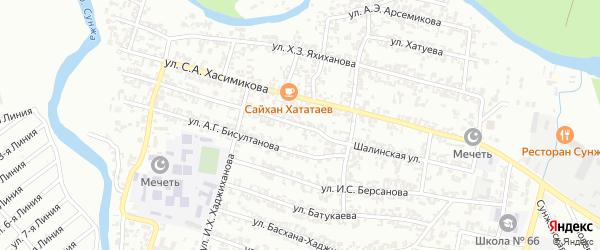 Шалинская улица на карте Грозного с номерами домов