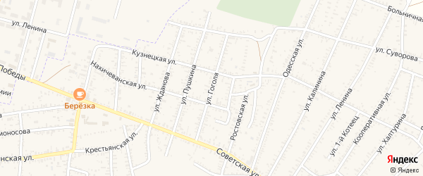 Улица Гоголя на карте села Капустина Яра с номерами домов