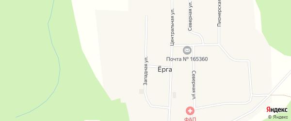 Западная улица на карте поселка Ерги с номерами домов