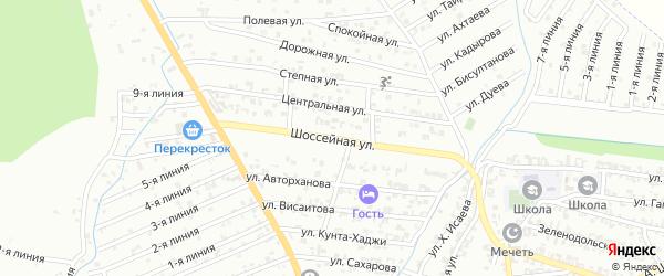 Шоссейная улица на карте Пригородного села с номерами домов