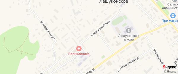 Спортивный переулок на карте Лешуконского села с номерами домов