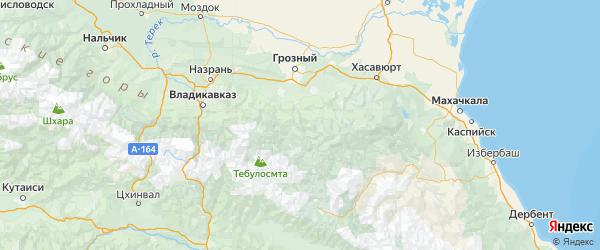 Карта Шатойского района республики Чечня с городами и населенными пунктами