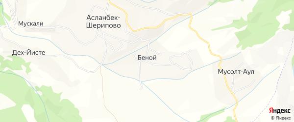 Карта села Беноя в Чечне с улицами и номерами домов