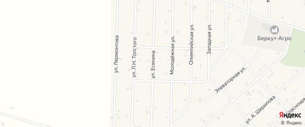 Улица Есенина на карте села Толстого-Юрта с номерами домов