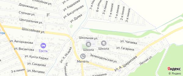Школьная улица на карте Пригородного села с номерами домов
