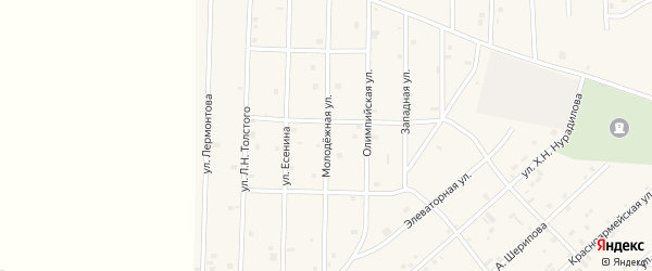 Молодежная улица на карте села Толстого-Юрта с номерами домов