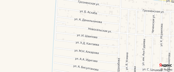Московская улица на карте села Чечен-Аул с номерами домов