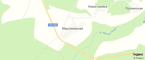 Карта Максимовская 2-я деревни в Архангельской области с улицами и номерами домов