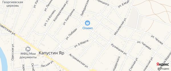 Кривой переулок на карте села Капустина Яра с номерами домов