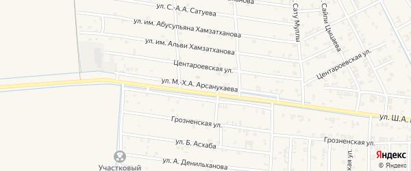Улица М-Х.А.Арсанукаева на карте села Чечен-Аул с номерами домов