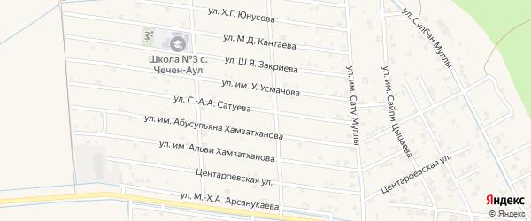 Театральная улица на карте села Чечен-Аул с номерами домов