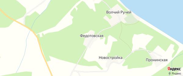Карта Федотовской деревни в Архангельской области с улицами и номерами домов