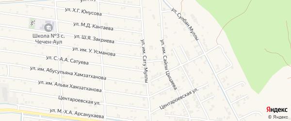 Верхняя улица на карте села Чечен-Аул с номерами домов