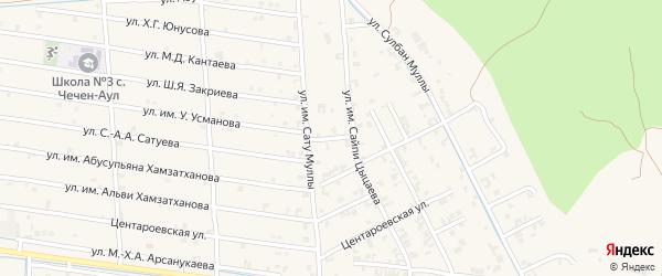 Переулок Зорге на карте села Чечен-Аул с номерами домов