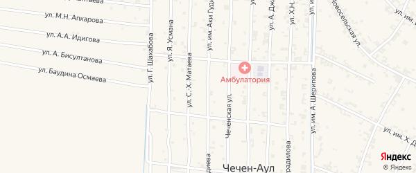 Сунженская улица на карте села Чечен-Аул с номерами домов