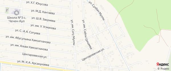 Улица Зорге на карте села Чечен-Аул с номерами домов