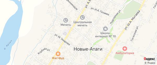 Улица А.А.Шаптукаева на карте села Новые-Атаги с номерами домов