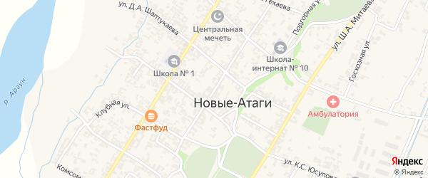 Продольная улица на карте села Новые-Атаги с номерами домов