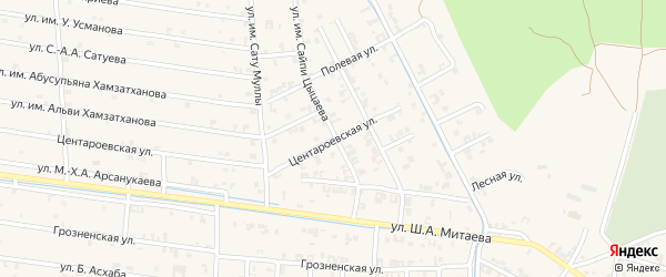 Полевая улица на карте села Чечен-Аул с номерами домов