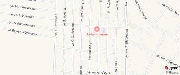 Чеченская улица на карте села Чечен-Аул с номерами домов