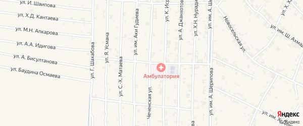 Набережная улица на карте села Чечен-Аул с номерами домов