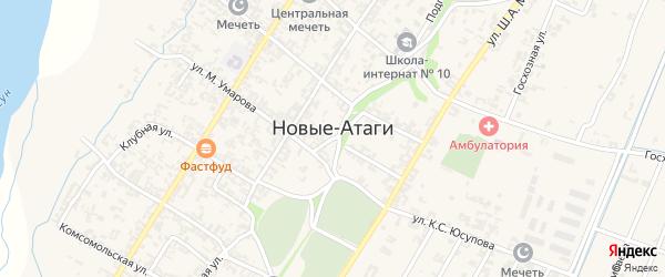 Зеленая улица на карте села Новые-Атаги с номерами домов