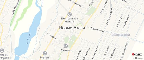 Карта села Новые-Атаги в Чечне с улицами и номерами домов