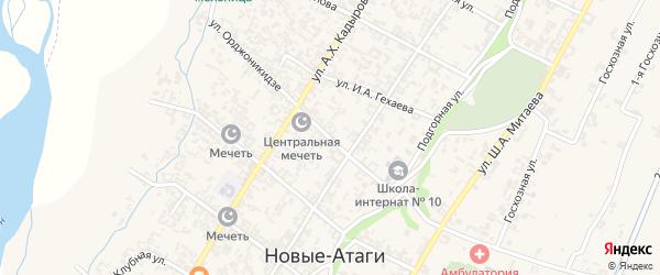 Улица Орджоникидзе на карте села Новые-Атаги с номерами домов