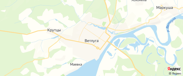Карта Ветлуги с районами, улицами и номерами домов: Ветлуга на карте России