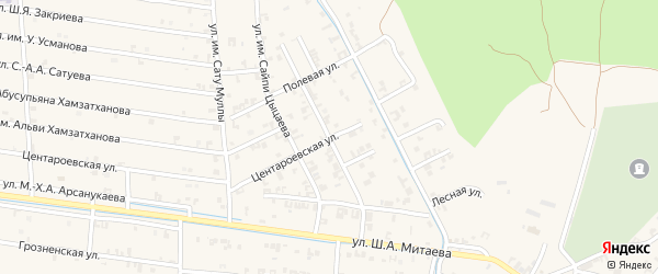 Улица Мира на карте села Чечен-Аул с номерами домов