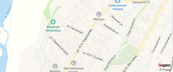 Улица Кадырова на карте села Новые-Атаги с номерами домов
