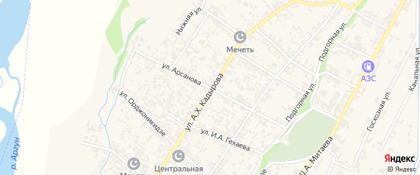 Улица Арсанова на карте села Новые-Атаги с номерами домов