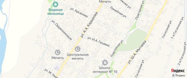 Улица И.А.Гехаева на карте села Новые-Атаги с номерами домов